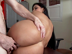 Spectacular brunette MILF with hot big ass fucks in the office in POV