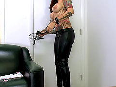 Mila Treasure plays with a dildo before riding a cock