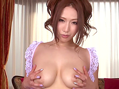 Hot japanese girl does footjob with..