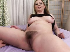 Naturally Busty Blonde Chokes On A..