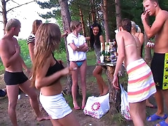 Hardcore outdoor student gangbang with..