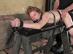 Sexy blond gets belted and drilled in..
