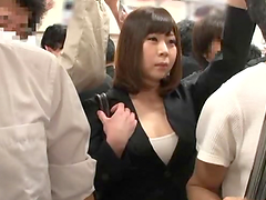 Busty Japanese milf gets her cunt..