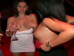 Drunk girls ride big hard cocks in a..