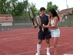 Sexy tennis players share their coach..