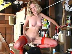 Slender Victoria rides big dildo fixed..