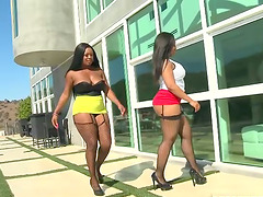 Two curvaceous ebony chicks in interracial threesome video