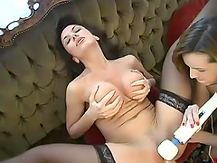 Gorgeous lesbian chicks get toyed by..