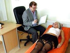 Horny doctor examins his patients wet..