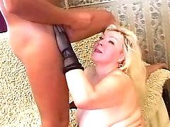 Mature blonde bbw sucks and gets..