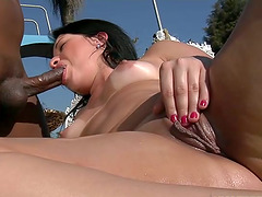 Anal Interracial Sex by the Pool with..