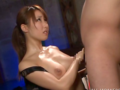 Naughty Japanese cutie is handjobing..