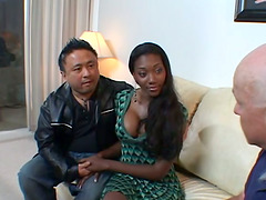 Petite ebony chick bends over for a..