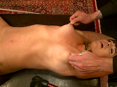 Tied up girl gets her pussy toyed and..