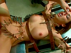 James Deen attaches clothespegs to..