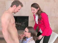 Delightful chicks get their tight pussies drilled in CFNM vid