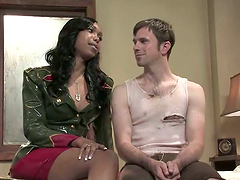 Interracial sex with a sizzling ebony..