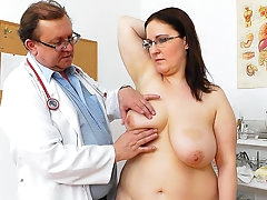 Doctor checks chubby brunette's big..