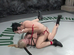 Brunette fucks blonde after wrestling