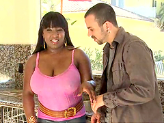 Ebony whore with huge tits gets fucked