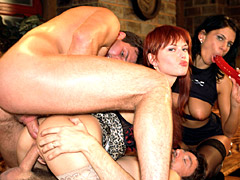 Foursome has a redhead in a DP