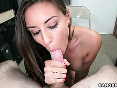 Hot blowjob and stroking from brunette..