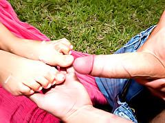 Cumshot on sexy feet