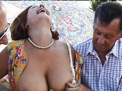 Horny Mature Gets Banged Hard By Three..