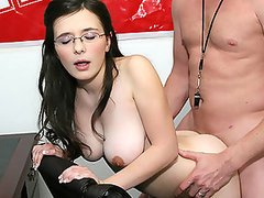 Perfect little student gets on her..