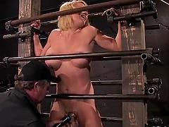 Krissy Lynn gets her big tits pressed..