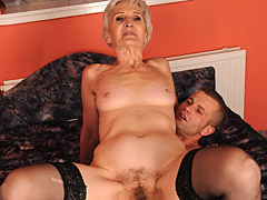 Old lady loves young cock