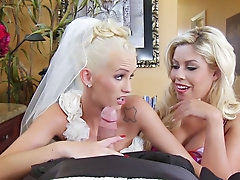 Bride and her busty friend have..