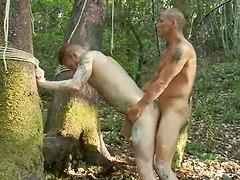 Outdoors BDSM Gay Sex Video with Ass..