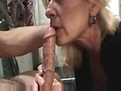 Mature Blonde Slut Sucks Cock and Gets Facialized - Amateur Porn Vid