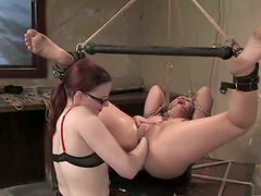 Claire Adams binds Krissy Leigh before..