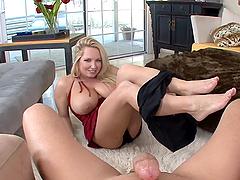 Huge tittied Rachel Love sucks a dick..