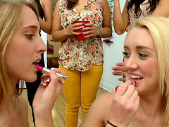 Three Girls Suck One Cock During..
