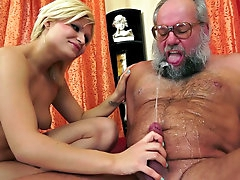 Blonde girl sucks old man's dick till he ejaculates