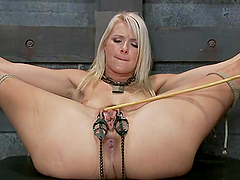 Lovely blonde gets her pussy tortured..