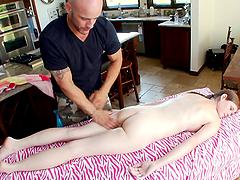 Skinny Lara Brookes gets massaged and..