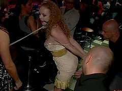 Curly redhead chick gets pounded in..