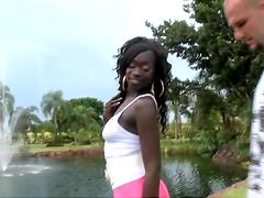 Ebony bitch with pierced nipples gets..