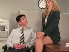Sexy office lady dominates her..