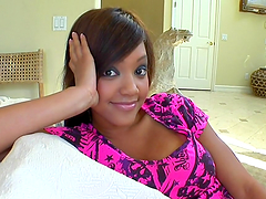 Gorgeous ebony teen takes on a black..