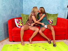Two long-haired lesbians practising 69..