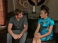 Tough guy moans while this asian lady..