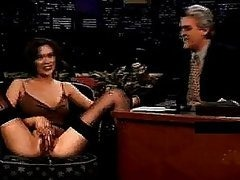 Brunette Babe Makes Her Pussy Squirt On the Tonight Show