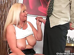 Slutty grandma sucks cock and gets a..
