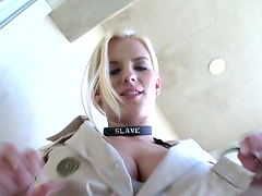 Dude fondles blonde's big-ass tits!