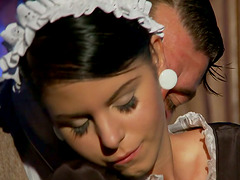Sexy brunette housemaid gets rammed in the ass